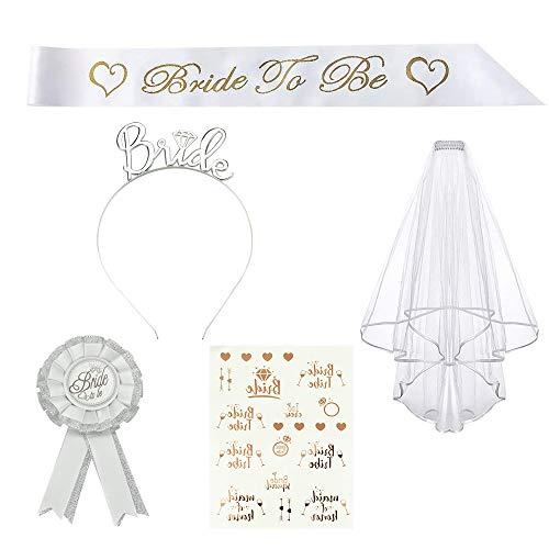 SSPECOTNR 5 Stück JGA Deko Accessoires Weiss Bride to Be mit Schleier Abzeichen Tiarakrone Tattoos Schulterriemen für Junggesellenabschiede Brautduschen Verlobungsfeiern Hochzeiten