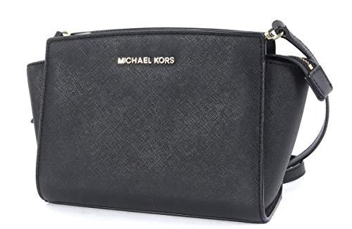Michael Kors Selma Saffiano Leather Messenger Crossbody Bag Black