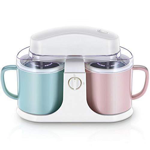 LOISK Tragbar Eismaschine, Haushalts-kleine automatische Doppelschalen-Sorbet-Maschine, mit Abnehmbarer Schüssel und Mischpaddeln, für hausgemachten gefrorenen Joghurt