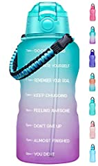 【Motivational Quote & Time Marker】With unique inspirational quote and time markers,this water bottle is great for measuring your daily intake of water,reminding you stay hydrated and drink enough water throughout the day.A must have for any fitness g...