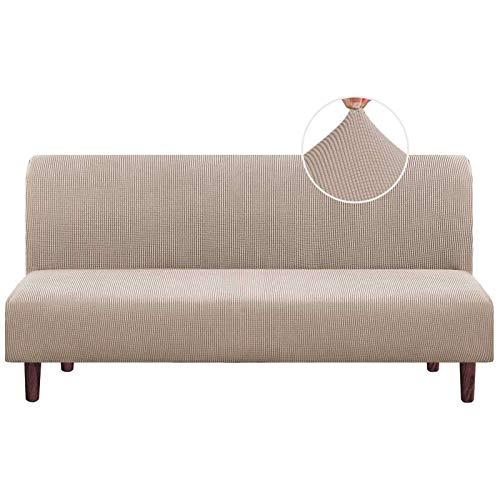 HUNOL Funda elástica de Sofá Sin Brazo, Elastano Cubierta de Sofá Cama Sin Reposabrazos Jacquard Protector para Futón Couch Lavable Protector de Muebles para Sala-Caqui-Clic clac