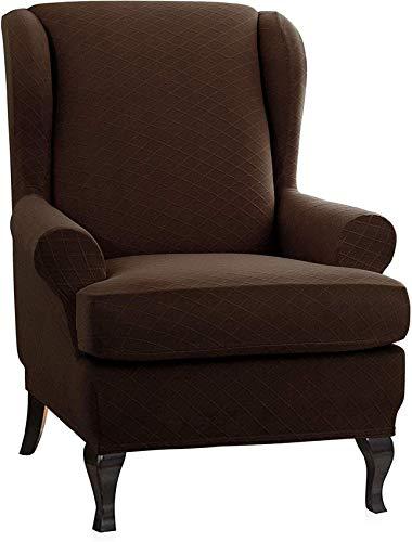 L.TSN Rhombus - Funda para sillón de Orejas de Jacquard, elástico, Universal, Suave, para sofá, Fundas para sillón de Orejas de 2 Piezas con Brazos extraíbles, Fundas para Muebles, Color Chocolate