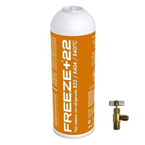 REPORSHOP - Botella Gas Refrigerante Freeze +22 400Gr + Valvula Organico Sustituto R22/R404/R407C/
