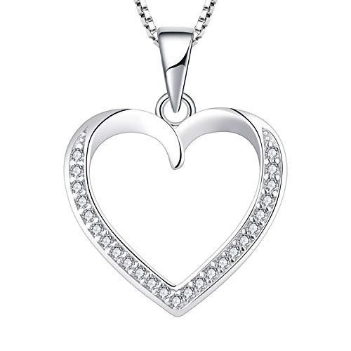 YL Collar de Corazón de Amor con AAA Corazón de Piedras Preciosas Colgante de Joyería para Mujer Novia, 45-48 cm