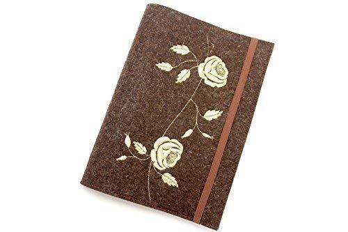 Sonderpreis - Mutterpasshülle aus braun-meliertem Wollfilz bestickt mit edler, goldfarbener Rose