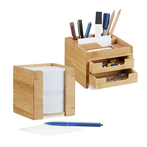 Relaxdays 2 TLG. Schreibtisch Set, Schreibtisch-Organizer mit Stiftehalter und Schubladen, Zettelbox mit Notizzetteln, Bambus