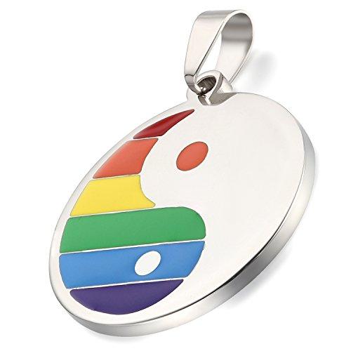 Flongo Gay Schwul LGBT Anhänger Halskette, Edelstahl Silber Mehrfarbig Bunt Regenbogen Streifen LGBT Lesbe Gay Pride Schwul Homosexuell Tai Chi Yin Yang Herren, Damen
