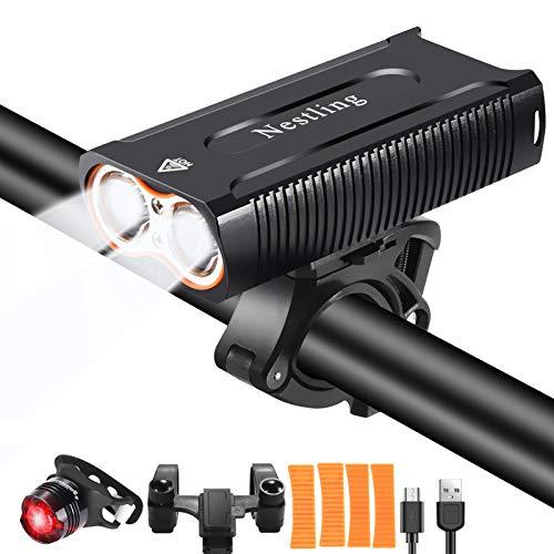 Nestling®Luz Bicicleta LED Recargable USB, 4 Modos 2400 Lú