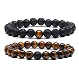 MengPa Mens Lava Rock Bracelet for Women Aromatherapy Anxiety Essential Oil Diffuser Volcanic Stone Bead Couples Bangle (Elastic-Black Lava&Tiger Eye G4163F)