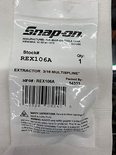 SNAP ON REX106A 3/16' MULTISPLINE EXTRACTOR