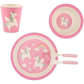 Idena 40122 Set de vaisselle pour enfant en bambou avec joli motif sir/ène Turquoise