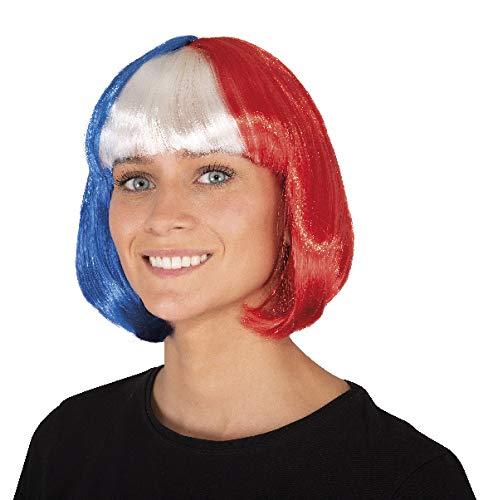 P'tit Clown- Perruque Cabaret-Bleu, Blanc et Rouge, Unisex-Adult, 68080, Taille Unique