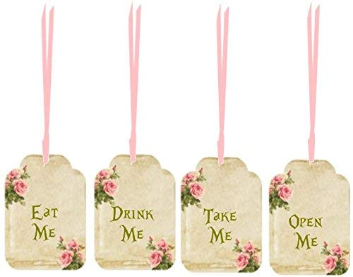 Alice in Wonderland 20 Eat Me, Drink Me, Take Me, Open Me party tags weddings, tea party, shower