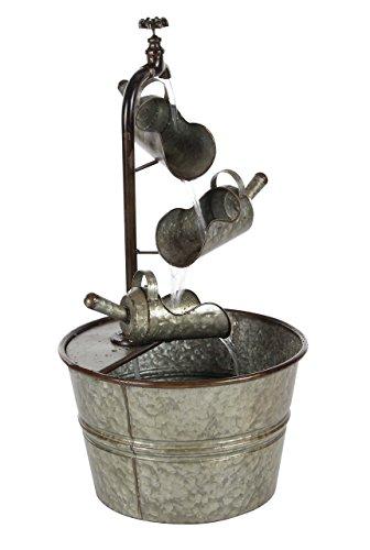 Deco 79 70552 Iron Faucet with Bucket Design Fountain, 28' x 15', Gray/Black