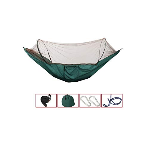 8haowenju Doppel-Camping-Hängematte - Leichte tragbare Nylon-Hängematte, Bester Fallschirm-Rucksack für Hängematten, Camping, Reisen, Strand, Hof (mit Moskitonetz) (Color : Green)