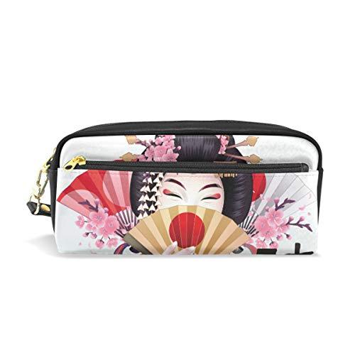 Estuche para lápices japonés con diseño de flor de cerezo y compartimentos para la escuela, estudiantes, mujeres, cosméticos, bolsas de cuero