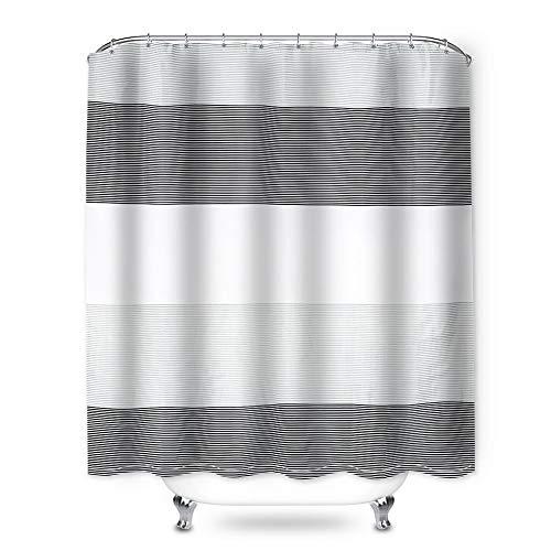 Snewvie Duschvorhang Streifen Wasserdicht Waschbar Anti-Schimmel Textil Stoff inkl. 12 Duschvorhangringe Duschvörhange Badewannevorhang 180x180cm (Schwarz)