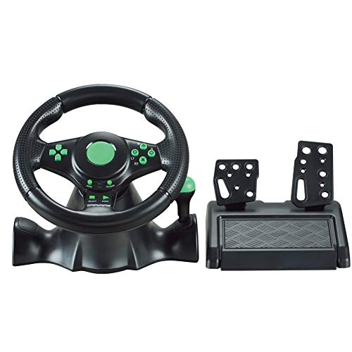 FT22 Racing Wheel, 180 Degree Racing Steering Computer Game Steering Wheel with Responsive Pedals Simulation Racing Driving Toy for PC/PS3/PS2/XBOX-ONE