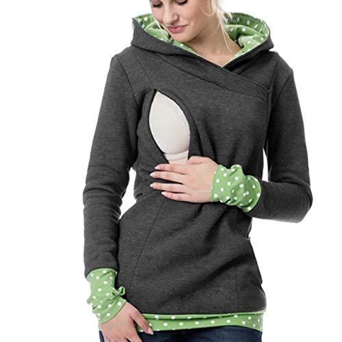 Hoodies Maternité Allaitement,SANFASHION Sweatshirt Femmes Enceinte Manche Longue Patchwork Imprimer Point Mode Sweat À Capuche Allaitement