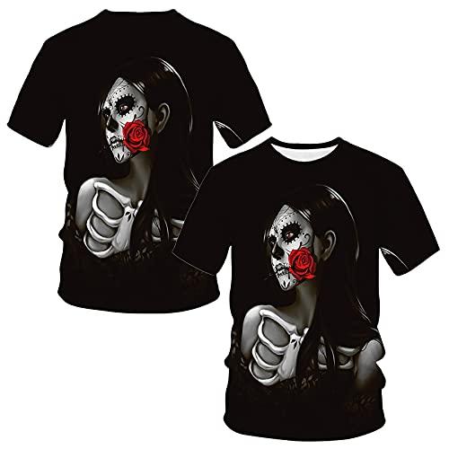 Camisas para hombre góticas impresas camisetas de manga corta cuello redondo camisetas casual verano Inglaterra fútbol camisas retro suelta blusa juvenil dibujos animados Pullover Tops, Negro, 4XL