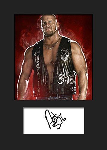 Steve Austin STONECOLD WWE | Signierter Fotodruck | A5 Größe passend für 6x8 Zoll Rahmen | Maschinenschnitt | Fotoanzeige | Geschenk Sammlerstück