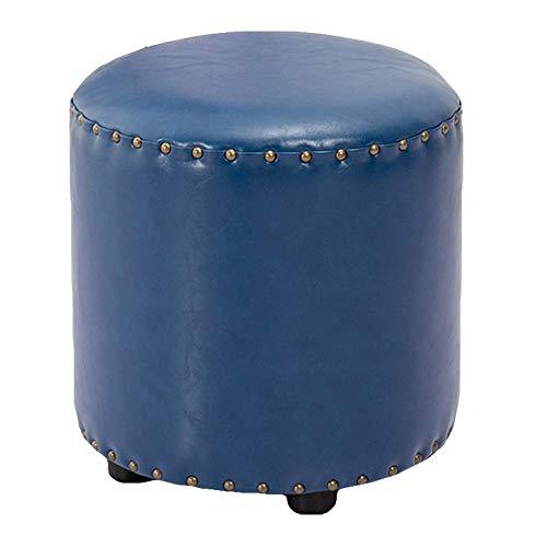 FSYGZJ Reposapiés de Cuero de Cera de Aceite sintético Otomano, puf Banco de Zapatos Taburete Puf Reposapiés Taburete Puff Silla-Azul 35x35x40cm (14x14x16inch)