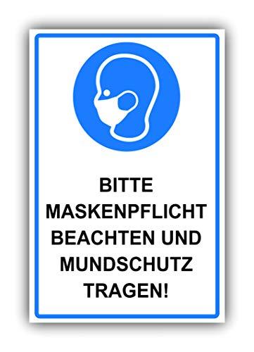 Hinweis-Schild XXL (Kunststoff Straßen-Signal) - Bitte Atem-Schutz tragen, Warnschild aus PVC Hartschaum Platte 200x300 mm - 3 mm stark