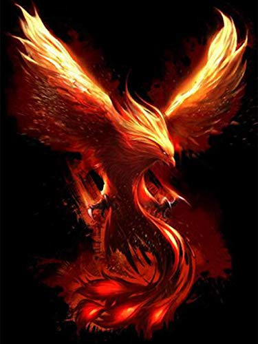 DIY Paint by Number for Adults Kids Beginners Canvas Abstract Art Acrylic Kit Bedroom Living for Home Wall Decoration Fire Phoenix-40x50cm