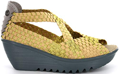 B M BERNIE MEV NEW YORK Women's Queen Wedge Sandals, Queen ist ein Keilabsatz, Höhe 6 cm, mit Memory-Schaum-Pflanze, - Gold/braun - Größe: 37 EU