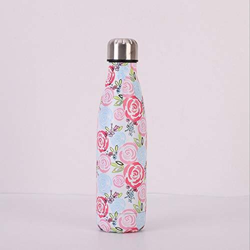 Yywl - Vaso de viaje de acero inoxidable aislado al vacío botella de agua presión doble pared Thermos Hot Cold 500 ml