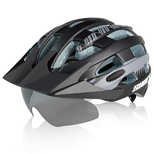 SUNRIMOON Adult Bike Helmet for Men Women, Mountain Bicycle Helmet with Sun Visor and Magnetic Goggles, Road and Cycling Helmet Adjustable Size L (22-24 inches)
