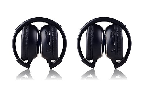 LeaningTech 2 Pack of IR Wireless Two-Channel Foldable Headphone, Two Channel Folding Adjustable Universal Rear Entertainment System Infrared Headphones for in Car TV Video Audio Listening