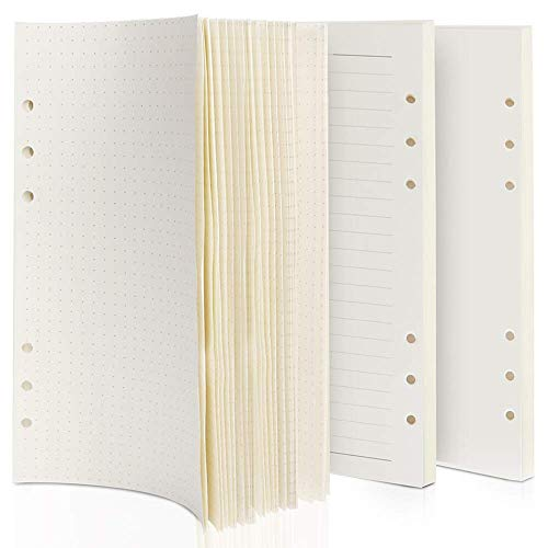 3 Pack A5 Refillable Paper, Dotted Paper +Lined Paper +Blank Paper, A5 Planner Inserts 21 x 14.2 cm Standard 6-Holes Notebook Refills Paper 3 x 45 Sheets/270 Pages for Class Travel Journals