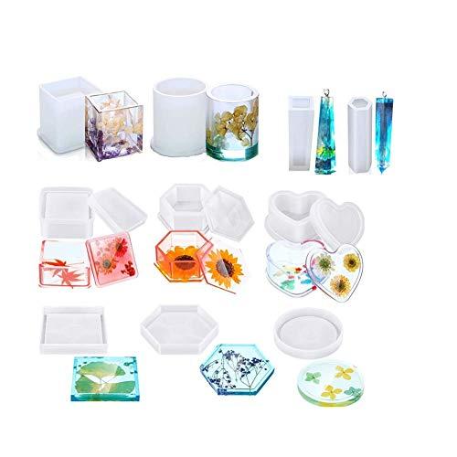 C100AE Stampi per Resina, 10 PCS Kit di Stampi Silicone in Resina, DIY Stampo per Colata in Resina Epossidica includere Tondo, Quadrato, Cilindro, Pendente