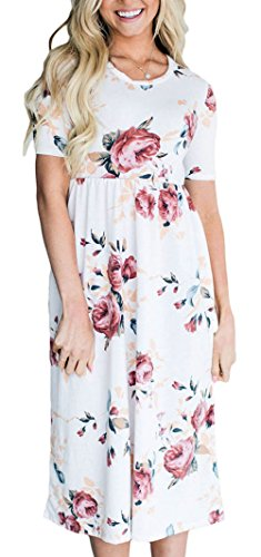 ETCYY Women Summer Short Sleeve Long Floral Beach Casual Midi Dress