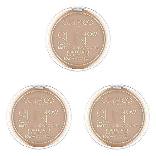 Catrice Sun Glow Matt Bronzing Powder, Bronzing-Puder, wasserfest, Nr. 030 Medium Bronze, braun, für Mischhaut, für unreine Haut, mattierend, matt, vegan, Nanopartikel frei, 3er Pack (3 x 9,5g)