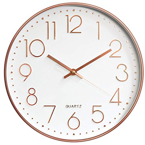 HOSTON Orologio da Parete Cucina 30cm Moderno Decorazioni casa Orologio Digitale Tranquillo Orologio da Parete utilizzato in Soggiorno, Camera, Ufficio (Oro Rosa Bianco)