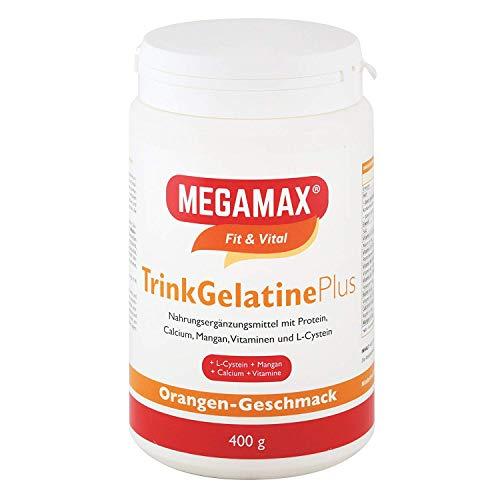 MEGAMAX Trink-Gelatine Plus L-Cystein , Mangan u. Calcium | Kollagen-Hydrolysat - Kollagen Protein Pulver - für Bindegewebe, Gelenke, Muskel & Knochen | Hochwertiges 100% Rinder-kollagen Hydrolysat