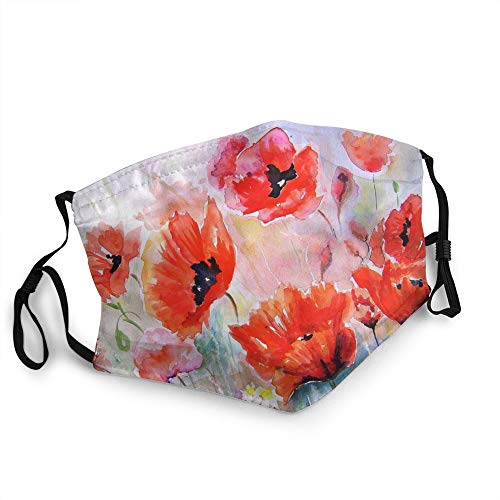 Face Mask Watercolor Flower Painting Reusable Washable, Face Cover Dustproof Windproof Face Protection for Men Women Teens, Face Protector Breathable Adjustable for Cycling Running Outdoor White