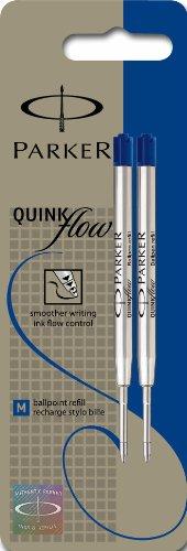 Parker QuinkFlow Medium Tip Ball Pen Refill - Blue, Blister Pack of 2