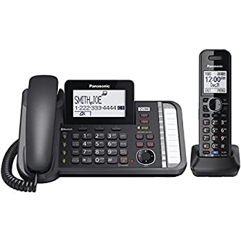 Panasonic 2-Line Corded/Cordless Phone System with 1 Handset - Answering Machine Link2Cell 3-Way Conference Call Block Long Range DECT 6.0 Bluetooth - KX-TG9581B  Black