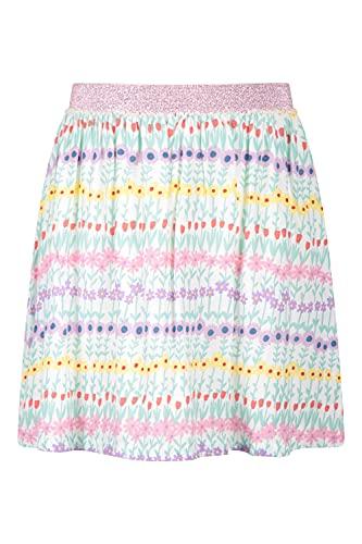 Mountain Warehouse Marina Falda de algodón Estampada Infantil - Falda de algodón, Fondos Transpirables para Chicas, fácil Cuidado - Ideal para Verano, Viajes, Aire Libre Blanco 9-10 Años