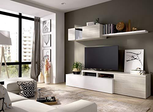 LIQUIDATODO - Salón de diseño 200 cm moderna y barata en blanco brillo y gris