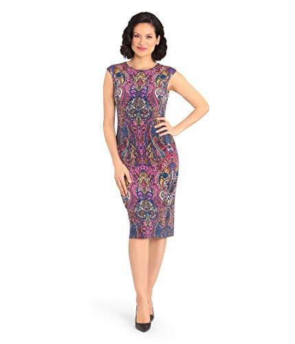 London Times Matte Jersey Cap Sleeve Midi Sheath Dress Purple Multi 12