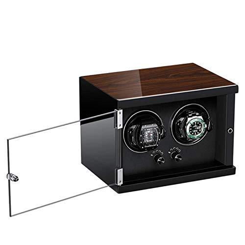 Enrollador de reloj doble para relojes automáticos 5 modos de rotación con motor súper silencioso Fibra de carbono Ajuste de cuero Relojes para dama y hombre en carcasa de madera y cuero color café
