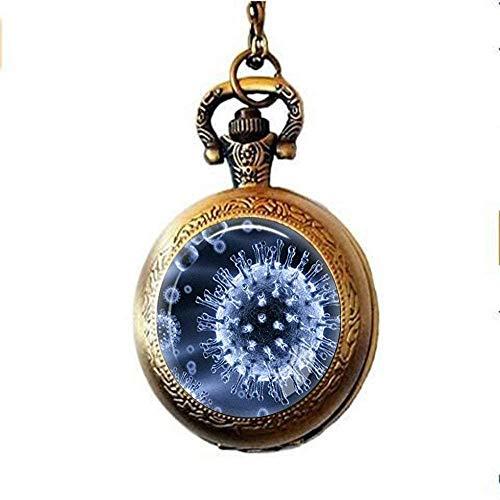 Virology Jewelry Virus Taschenuhr Halskette Mikrobe Biologie Taschenuhr Halskette Wissenschaft Geschenk mikroskopische Ansicht eines Virus Taschenuhr Halskette