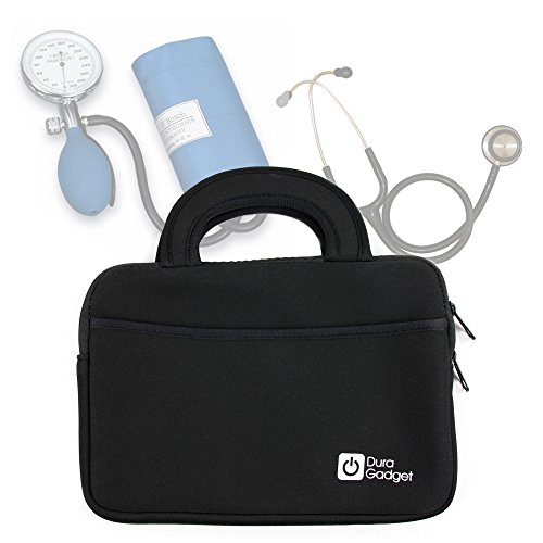 DURAGADGET Black Neoprene Case with Carry Handle & Front Storage Pocket (Equipment NOT Included) - Ideal for Storing Your Medical Equipment (Stethoscope/Sphygmomanometer)