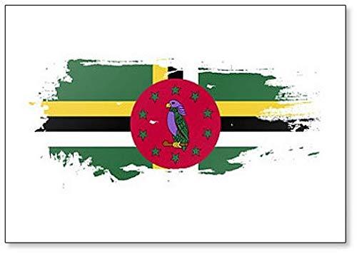 Kühlschrankmagnet Dominica Flagge Grunge Brush Style Illustration