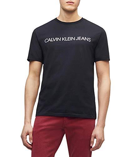Calvin Klein Jeans Men's Short Sleeve Classic Ck Logo Crew Neck T-Shirt, White Wash, MEDIUM