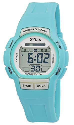 Xinjia Reloj de pulsera digital para hombre, color negro y turquesa, cuarzo, silicona, alarma, luz, cronómetro, fecha, estilo retro de los años 80